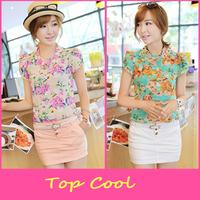 LA136 2014  floral cute shirt blouse fresh summer autumn short-sleeve chiffon slim 3 colors chiffon cool