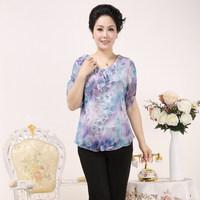 Mother clothing 2014 middle-age women summer quinquagenarian t-shirt quinquagenarian women's short-sleeve chiffon shirt