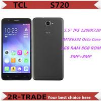 Original TCL S720 S720T MTK6592 Octa Core 1.4GHz 5.5 inch 1280x720P 1GB RAM 8GB ROM 8MP 3300MAH OTG WCDMA Smartphone