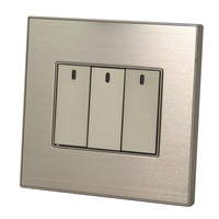 Three billing control switch with LED light point statue luxury champagne gold brushed stainless steel panel series