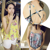hot sale  Women Summer Top Sleeveless Spaghetti Strap Flower Floral Print Chiffon Top Back Cross Vest Women Blouse NS109