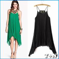 Fashionable Spaghetti Three Colors Women Pleated Chiffon Dress Sexy Summer Pleated Maxi Dresses