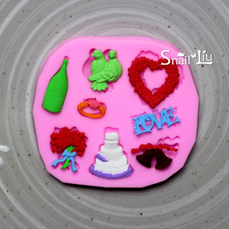 Pássaro casamento da forma do coração bolo fondant decoração molde do bolo molde para chapéus de coco do queque silicone 3D sabão molde de silicone de chocolate bakeware(China (Mainland))