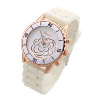 New 2014 Fashion Women Watches Rose Gold Peony Flower Glass Round Analog Alloy Silicone Strap Quartz Wristwatches Hot Sale