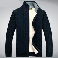 Zipper Sweatshirts Men Plus Size Thick Stand Collar Fashion Cashmere Casual Sweater Autumn Male Overcoat Size M-3XL