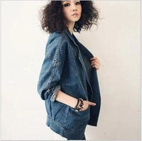 2014 spring autumn new fashion women's jackets,plus size loose long batwing sleeve denim clothing woman,free shipping hot sale