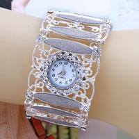 2014 Hot Sale Fashion Women Dress Watches Analog Alloy Ladies Rhinestone Watches 2Color Round Glass Bracelet Quartz Wristwatches