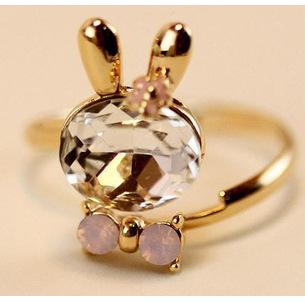 Free shipping,Fashion ring Elegant crystal inlaid rabbits rings for women SS0058(China (Mainland))