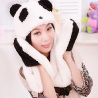cute cartoon panda Korean winter hat scarf gloves one warm Sherpa Hooded Scarf