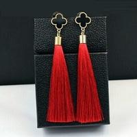 tassel long earrings gold plated fashion four leaf clover drop earrings for women 2014 new jewelry wholesale brand design