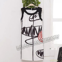 New 2014 summer new designer sexy retro printed dresses elegant casual waist sleeveless dresses S/M/L free shipping 851579