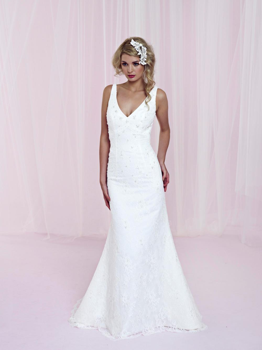 new design wedding gowns v neck floor length zipper back taffeta wedding dresses 2014(China (Mainland))