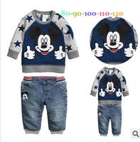 2014 autumn children clothing set cartoon Mickey sweatshirt+pants long-sleeve set kids baby boys sport suit casual hoodies set