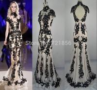 AJ-35 new elegant appliques beads crystal mermaid high collar short sleeve sheer open back long evening dress party dresses 2014