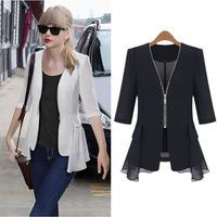2014 Autumn European Jacket Solid Thin Half Sleeve Ruffles Zipper Outerwear Chiffon Women's Summer Coat Plus size M-5XL