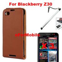 Slim Genuine Leather Case Flip Phone Cover + Screen Protector +Mobile Phone Stylus  For  Blackberry Z30