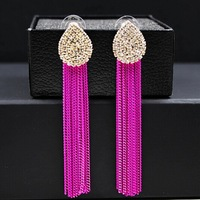 Brand long statement earrings gold plated fashion rhinestone metal tassel dangle earring for women 2014 new jewelry wholesale