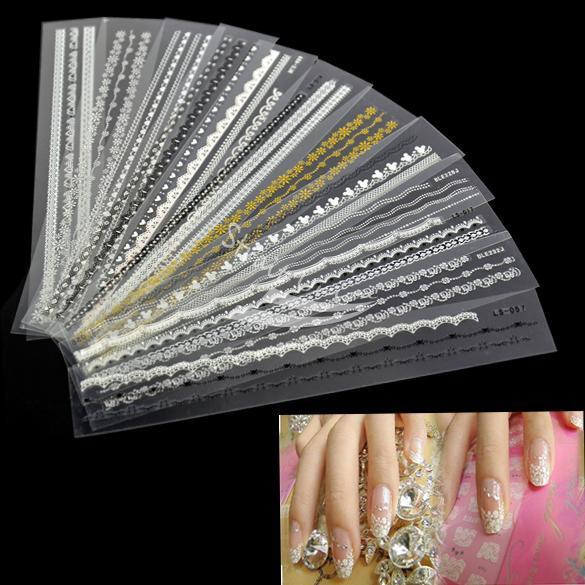 2014 real Nails Adesivo Para Unhas Nova 12pcs acrílico Mix Lace elegante Decal Para Nail Art French Tips decoração adesivo(China (Mainland))
