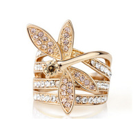 Free Shipping Top 18 K Gold Clear Crystal Dragonfly Rings Jewelry Gem Ring Gift Accessories For Women Wholesale More Cheaper