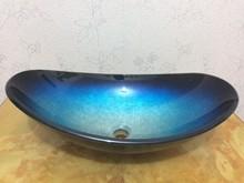 4263-2 Construction & Real Estate Bathroom Painting Art Washbasin Tempered Glass Vessel Sink