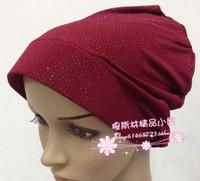 Mix Wholesales Muslim Hijab Hat Cap belt hat Brim Bandanas Basic Cap Crystal Hemp or  Viscose Fabric