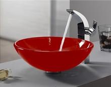 4264-2 Construction & Real Estate Bathroom Red Round Art Washbasin Tempered Glass Vessel Sink