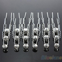 20Pcs Sliver Wedding Party Bridal Crystal Rhinestone Diamante Clips Hairpin 06JQ