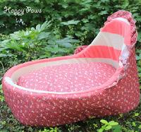 Hot sale detachable & washable cradle shaped checker little flowers patterns pet dog cat house bed