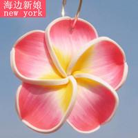 Fashion Beach Bohemia Pink Plumeria Rubra Earrings Accessories Ear Loop Earring Ear pendant (Minim order $10)