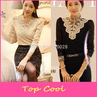 LA137 New  temperamental Women autumn Crochet Blouse Lace sweet Shirt  Clothes Basic Shirt  Pearl Vintage Shirts