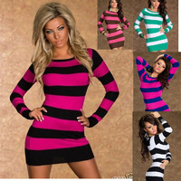 Hot Sale! New 2014 clubwear Sexy Nightclubs Women dresses Stripe stitching long sleeve dresses Vestidos