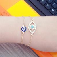 B046 Blue Devil eye 18k Gold Plated hamsa Hand of Fatima Bracelets,Jewelry Wholesale