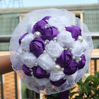 Handmade Good Quality  Romantic Purple Silk Bouquet for Wedding, Bridal Silk Holder Flower Pretty Ornaments Bouquet with Ribbon