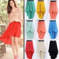 2014 New A-line Saias Femininas Skirts Womens Factory Direct Chiffon Irregular Skirts Short Long Before After A Waist Skirt