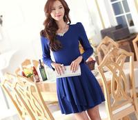 2014 autumn women OL dress ruffle patchwork one-piece dress slim mid waist o-neck long-sleeve dress