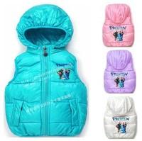 2014 new frozen. 1 pieces retail. kids vests & waistcoats girls candy color vest children's vest girls vest children outerwear