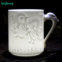 Cup office cup ceramic cup white porcelain with lid moralization big water cup conference cup embossed cup thin