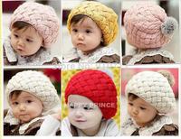 Han edition set of rabbit hair ball children head cap Apple cake knitted cap wool beret,free shipping
