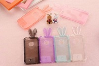 Free shipping! 2pcs/lot New coming crystal rabbit protective case for iphone 5 5S Transparent  TPU Cover Case