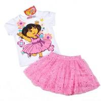 Summer Hot Dora The Explore Baby Girl Clothing Set Tees+Dress Saias Jupe Vestido Children Clothes Wear Fille Enfants Menina