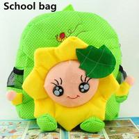Plush cute Fabric flowers sunflowers mochila lovely kids school bags zipper cotton fabric mochila infantil