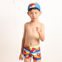 Children swimwear / / boy children cartoon boxer swimming trunks / / bathing suit men and children / / swim cap collocation