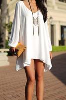 free shipping Ebay women's fashion loose V-neck short design chiffon one-piece dress a women's