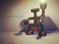 HOT Luxury Antique Vintage Desk Table Lamp Light Robot Manual DIY Handmade For Loft RH Cafe Bar Study E27