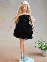 Wholesale 5 pcs/lot 100% Original handmade sexy rose dress for 1/6 barbie Doll best toy DIY Gift for Girl D026(cloth+lace)