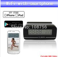 Free shipping WiFi Clock Camera Hidden camera Clock WIFI/ IP mini DV , Cycle Recording with 1 pcs with retail box
