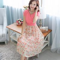 2014 summer elegant small fresh slim chiffon one-piece dress full dress plus size clothing