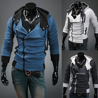 Assassin's Creed III 3 Desmond Cosplay Costume Hoodie Coat Jacket blue gray  zipper M-6L sportswear free shiping