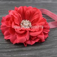 24pcs/lot Fabric Peony flower headband, handmade flower with bling rhinestone pearl center, baby girl headband hair accessories