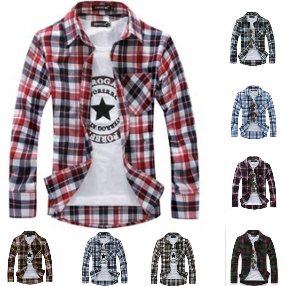 8 Colors New Mens flannel Long sleeved plaid Shirts,Fashion Slim Fit Classic Plaid brand Dress Shirts(China (Mainland))